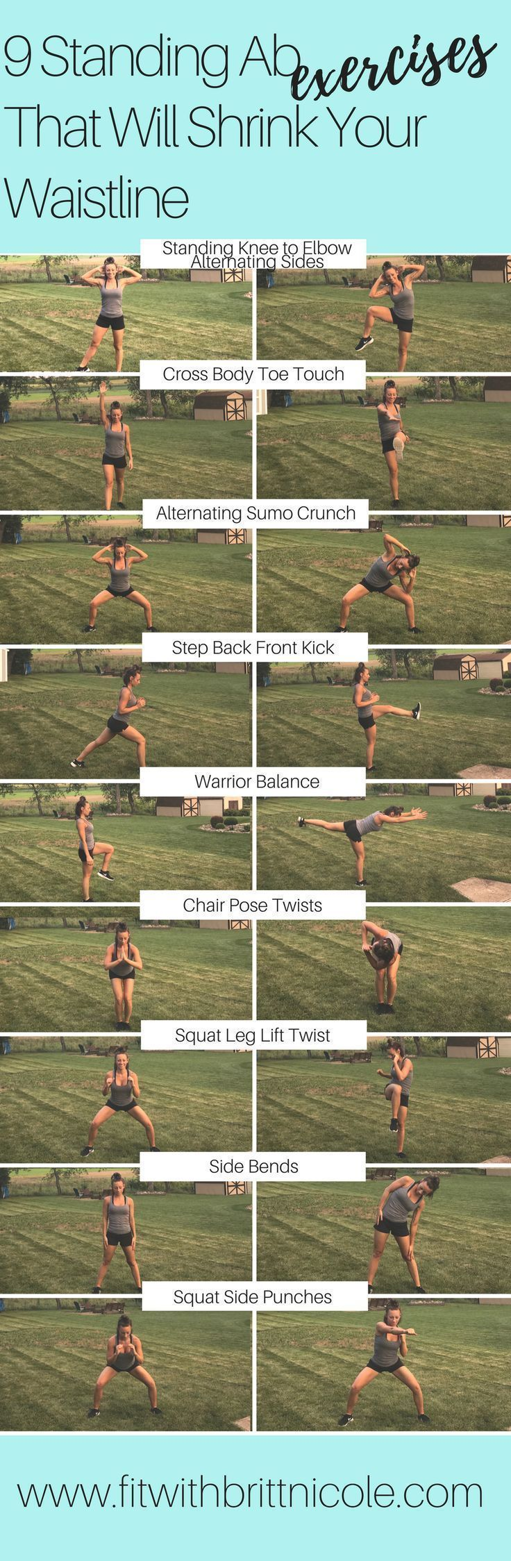 Get a great ab workout without ever touching the floor! Here are 9 amazing standing ab exercises that will shrink your waistline!   Posted By: NewHowToLoseBellyFat.com #FITNESSMOTIVATION