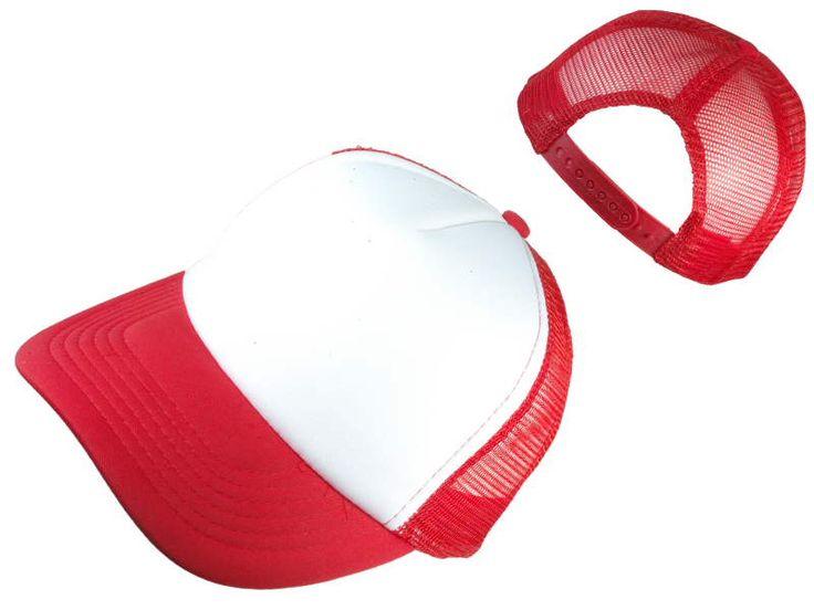 Wholesale Classic 5 Panel Polyester Foam Mesh Trucker Blank Hats Caps( White / Red )