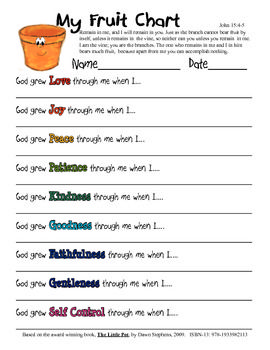Help children show the fruit of the Spirit throughout their day with this FRUIT CHART. This activity will help students to see they can show love, joy, peace, patience, kindness, goodness, faithfulness, gentleness, and self control with God's help. It is based on the award winning book: The Little Pot, by Dawn Stephens ISBN-13: 978-1933982113.