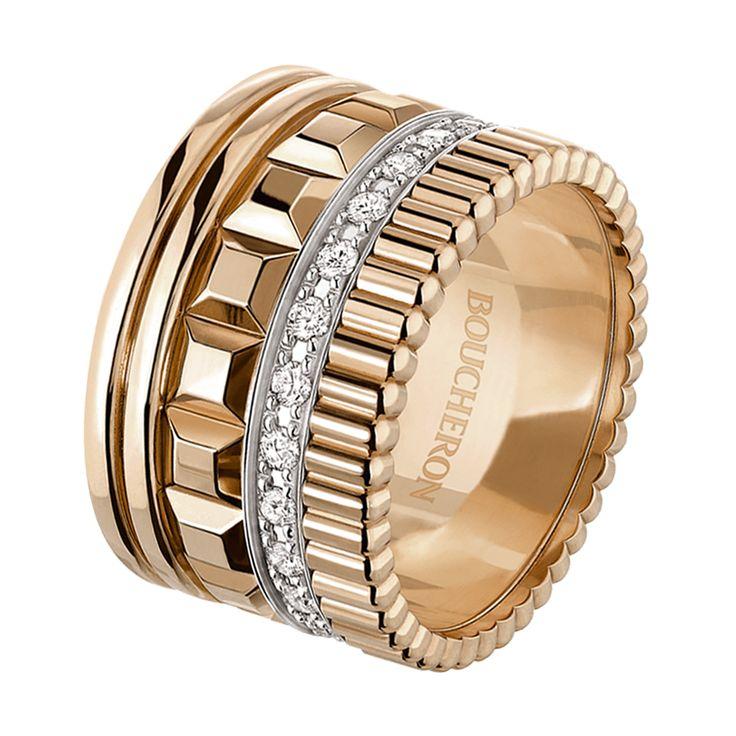 Bague pavée de diamants, sur or rose