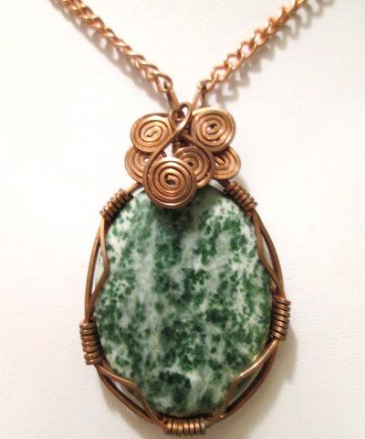 Copper Wire Wrapped Tree Agate Gemstone Pendant Necklace
