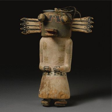 Hopi Polychromed Wood Kachina Doll, Possibly Depicting Hololo height 8 1/4 in.