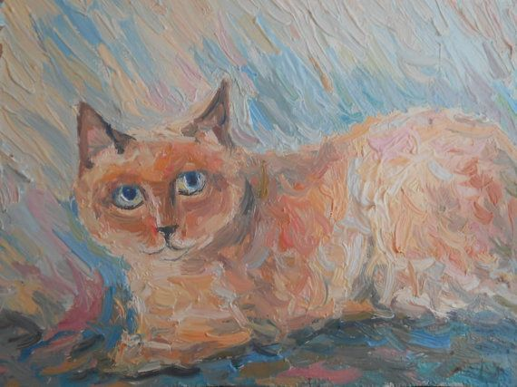 Siamese Cat Custom Painting Colors Portrait Memorial by FrozenLife