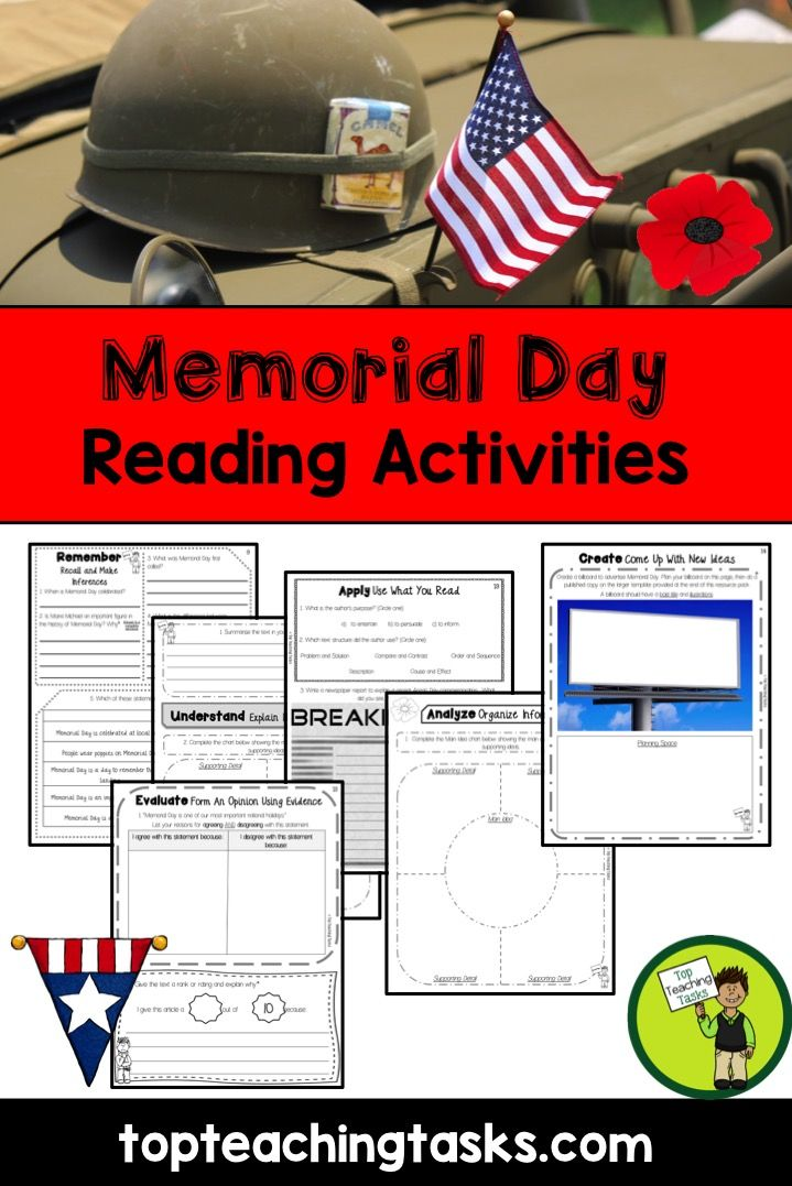 This Memorial Reading Resource includes TWO Grade Four and Grade Five informational passages with six engaging text dependent higher order thinking tasks - perfect for reading comprehension!   Learn more about the history of Memorial Day and how Memorial Day is marked today.   www.topteachingtasks.com
