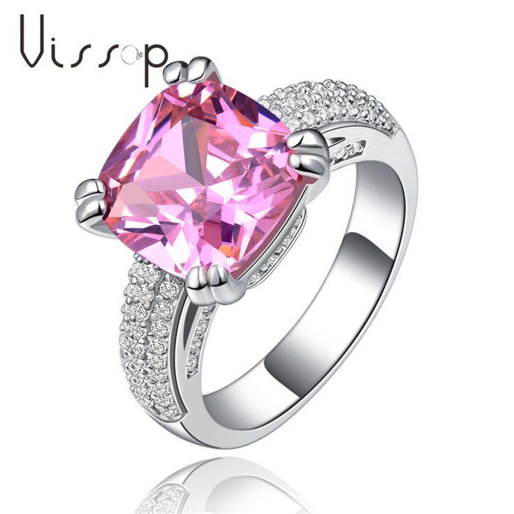 Розового камня кольца для женщин 4 СТ CZ алмазов из белого золота заполнено мода ювелирные изделия свадьба обручальное бижутерии AccessoriesVSR146