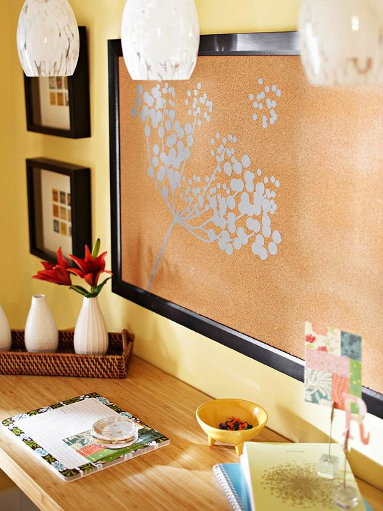 Dress up a basic bulletin board with a stylish frame and a stick-on decal. More decorating projects: http://www.bhg.com/decorating/do-it-yourself/accents/fast-and-fabulous-decorating-projects/?socsrc=bhgpin062212#page=5