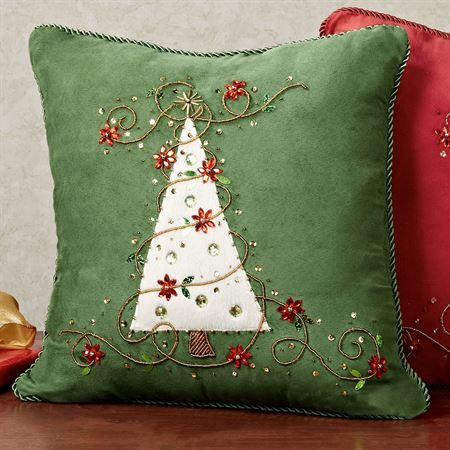 Jeweled Christmas Tree Suede Decorative Pillows