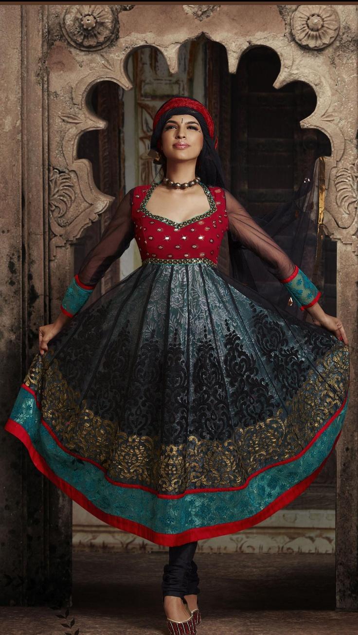 $88.42 Black And Red And Teal Blue Net And Shimmer Full Sleeve Designer Salwar Kameez 16256