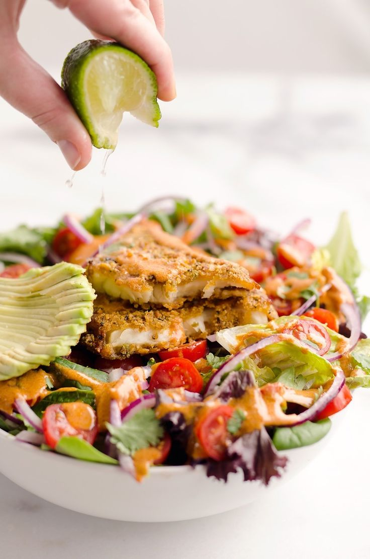 It only take 15 minutes to whip up this Southwest Tortilla Crusted Tilapia Salad recipe.