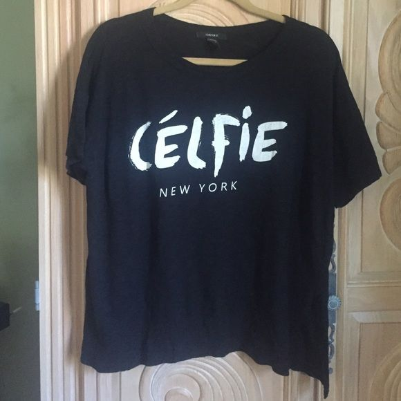 Celfie shirt .. F21 Cute black boxy shape shirt .. F21 Sz Med . No trades Forever 21 Tops Tees - Short Sleeve