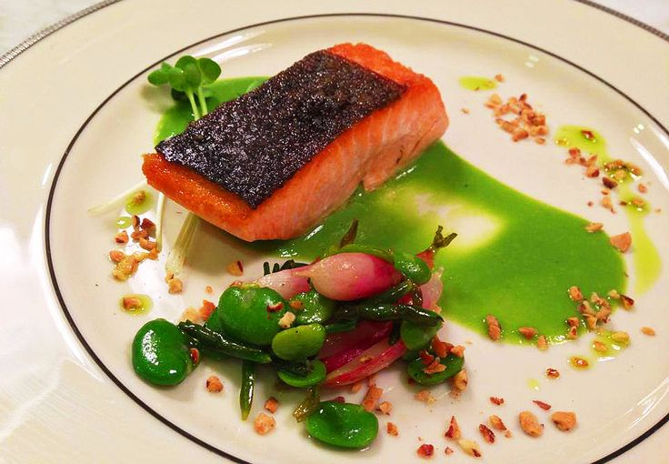private chef Alex's King salmon, minted pea puree, fava beans ...