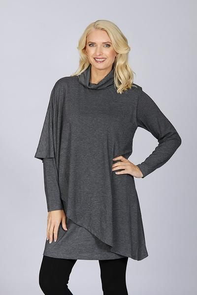 Cordelia St Layered Asymmetrical Cape Tunic Dress - Clothing Click - 2