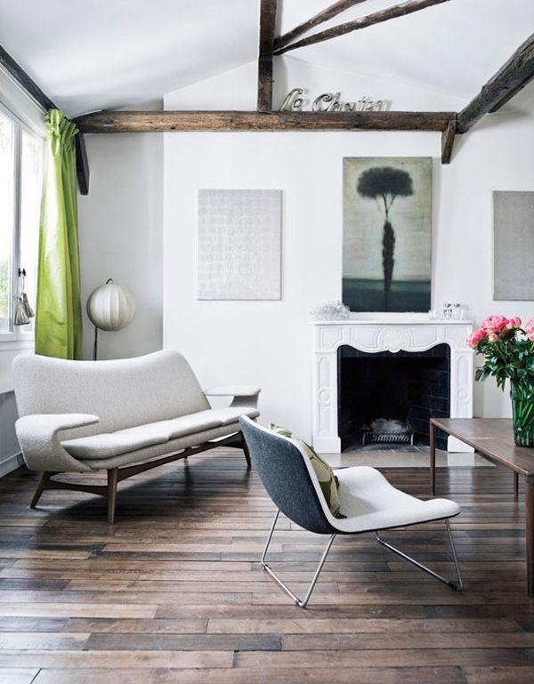 ...: Paris, Ceilings Beams, Living Rooms, Floors, Chairs, Interiors, Vintage Furniture, Green Curtains, Wood Beams