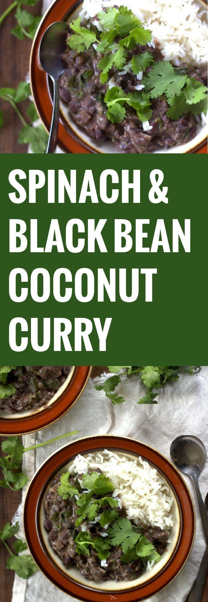 Spinach, Coconut and Black Bean Curry // olive oil, onion, garlic,  fresh ginger, black beans, lime juice, tinned coconut milk, vegetable stock, garam masala, ground coriander, ground cardamom, chili powder, fresh spinach, coriander, rice