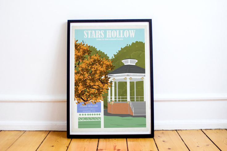 Stars Hollow Travel Poster - Gilmore Girls - Lorelai - Rory - Luke - Stars Hollow - Retro Travel Print - Gazebo by HarknettPrints on Etsy https://www.etsy.com/uk/listing/490990029/stars-hollow-travel-poster-gilmore-girls