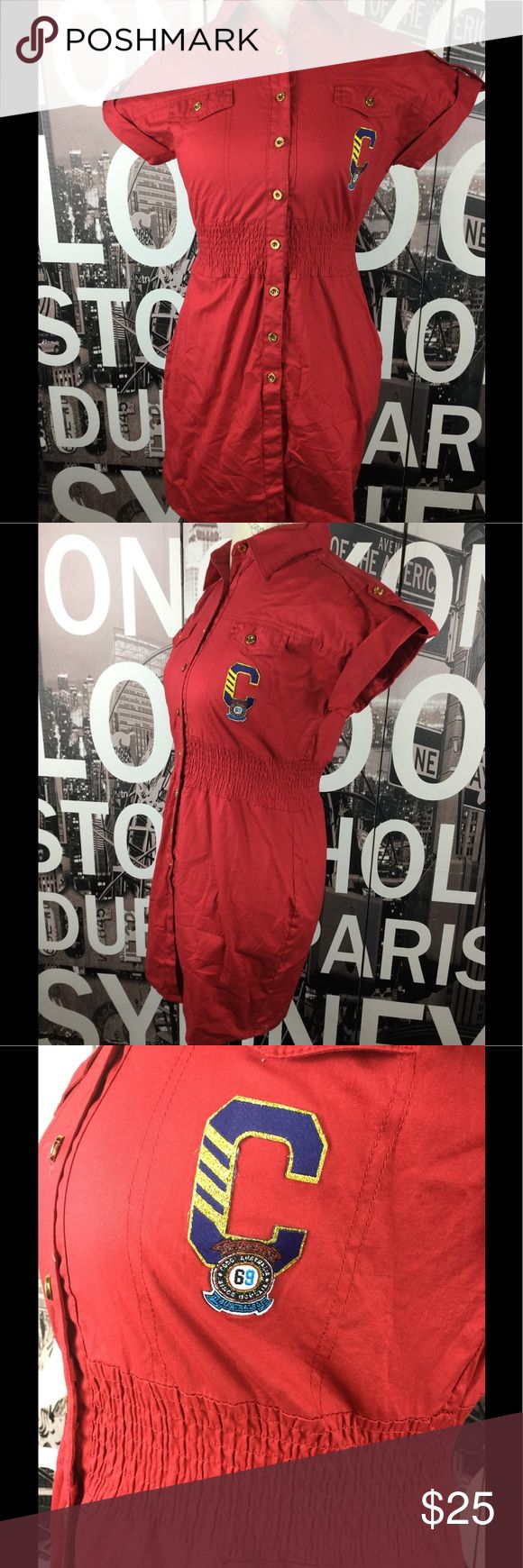 Stunning Coogi red bling shirt dress So amazing. Patch crest in front and logo bling on back. Size medium with gold buttons. Length 31 Bust 17 Waist 13.5 but stretchy COOGI Dresses