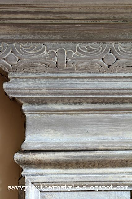 Chalk Paint® decorative paint: Country Gray over Coco and rubbed back with a wet rag .