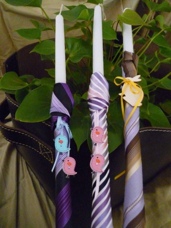 Candles for Easter made by ties with decorative elements