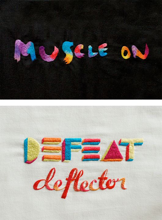 Maricor and Maricar Manalo: Design Inspiration, Defeated Deflector, Hands Embroidered, Grid Design, Maricar Manalo, Manifesto Projects, Embroidered Typography, Inspiration Grid, Inspiration Design