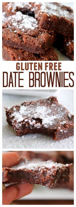 Gluten Free Date Brownies on SixSistersStuff.com   You will be amazed at how absolutely fantastic these brownies taste! And you won't feel guilty with this healthy brownie alternative!