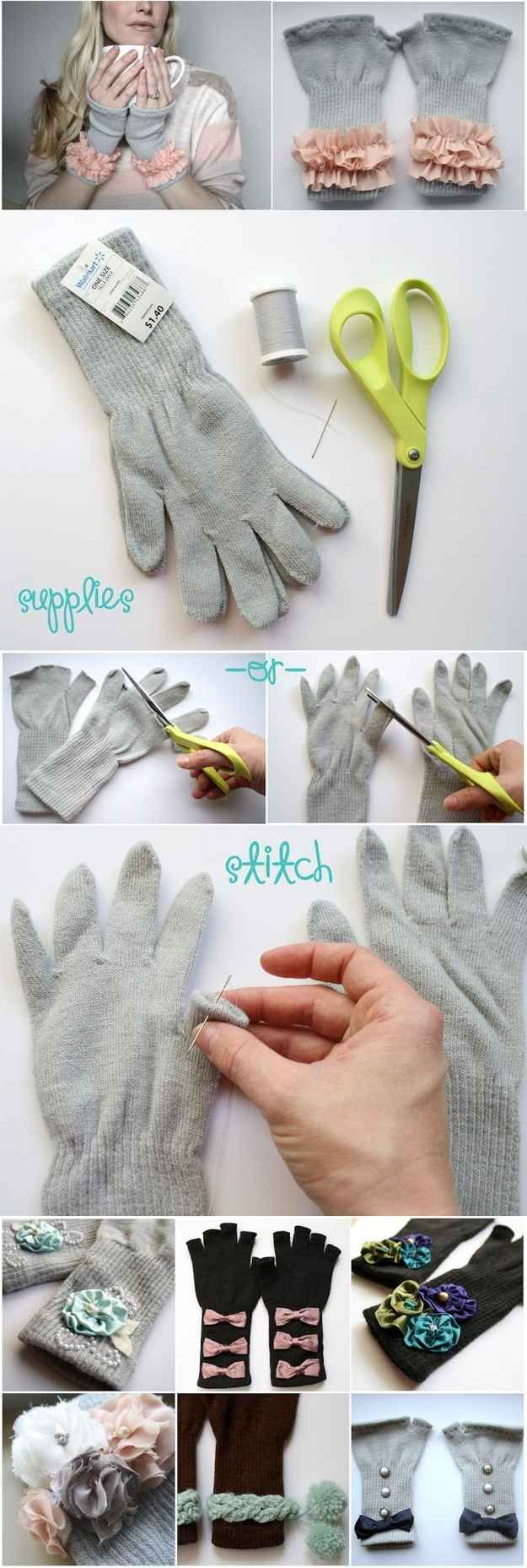 Personalizando tu guantes asiendolos unicos solo para ti Fingerless Gloves | 24 Creative Life Hacks Everyone Should Know Before Winter Comes