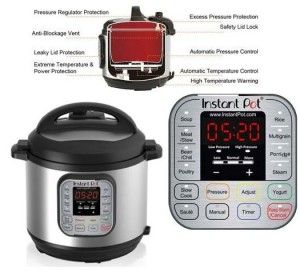 Instant Pot IP-DUO60 7-in-1 Programmable Pressure Cooker with Stainless Steel Cooking Pot and Exterior High Quality Pressure cooker with latest Third generation technology. Buy now and save $95 on this appliance. Read More