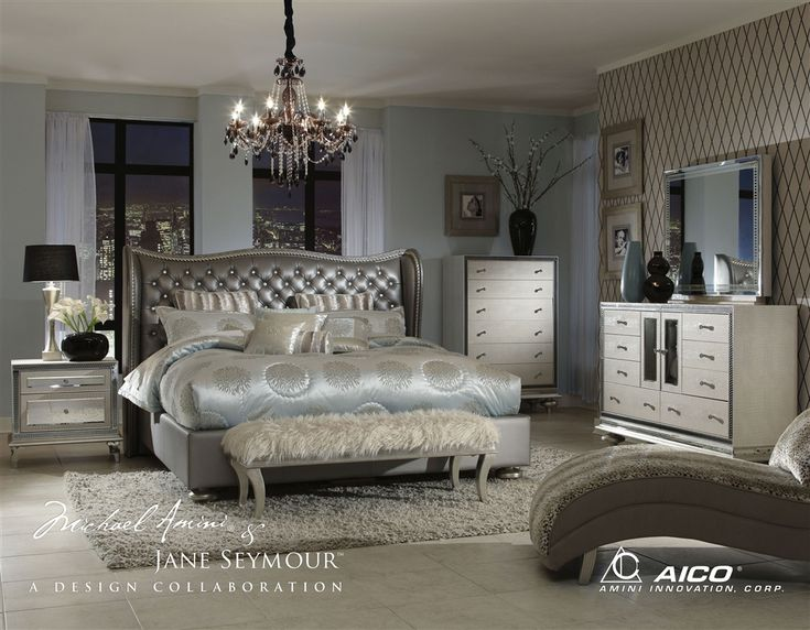 4 Piece California King Bedroom Set Hollywood Swank By Aico Amini In Leather Metallic Graphite