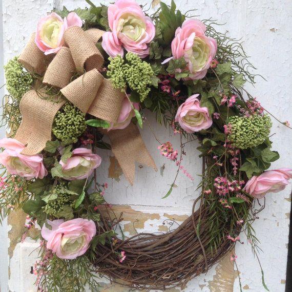 SALE Summer Door Wreath Summer Wreath for Door by FlowerPowerOhio