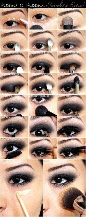 Step by step smokey black eye shadow makeup for Asian eyes