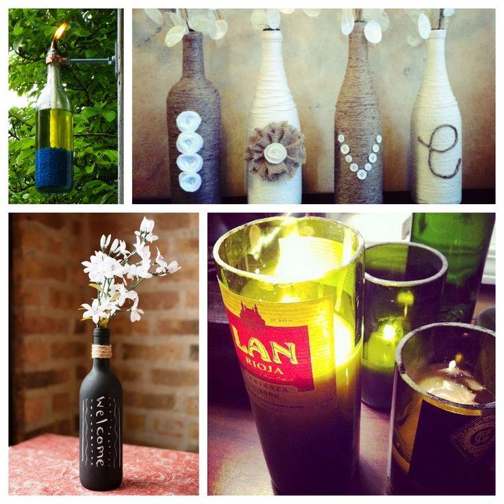 #Wine bottle crafts for #DIY #apartment #decorating on a #budget! [Rent.com Blog]