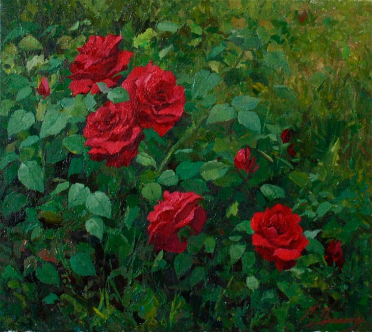 "Dovbenko Victor,  ""Roses"", canvas, oil, 40x45 cm, 2012 http://www.art-helicon.ru/eng/asp/artist/art44.asp"