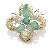 Russell Trusso Turmalina verde y colgante esmeralda tallada