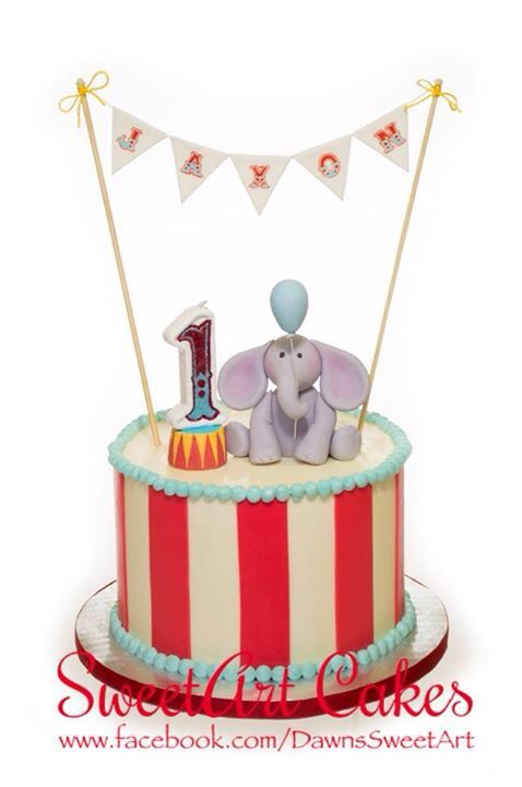Circus theme smash cake, 1st birthday cake