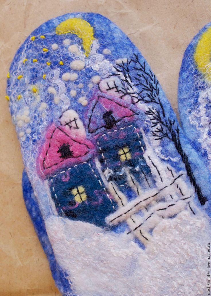 """Купить Валяные рукавички """"Домишки"""" - синий, рукавички, варежки, варежки ручной работы, варежки женские"""