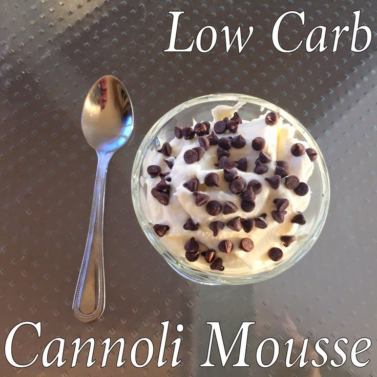 Cut the Wheat: Low Carb Cannoli Mousse 1/4 C whole milk ricotta cheese - 1/4 C heavy cream, whipped until stiff peaks form -5-10 drops of stevia extract or liquid sucralose (EZ-Sweetz) (to taste) -1/8 tsp. salt -Pinch of nutmeg (optional) -1/8 tsp. almond extract - 1 T sugar free vanilla Davinci syrup (or 1/8 tsp. vanilla extract; use more sweetener if using extract) -Pinch (very small) of xanthan gum -2 T mini chocolate chips
