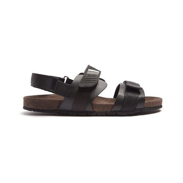 Prada Multi-strap leather sandals (3,525 CNY) ❤ liked on Polyvore featuring men's fashion, men's shoes, men's sandals, black, shoes, mens velcro shoes, mens black shoes, mens black sandals, mens velcro strap shoes and mens leather shoes