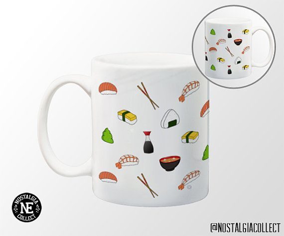 Sushi Pattern Coffee Mug  11 oz Coffee Mug  by Nostalgia Collect