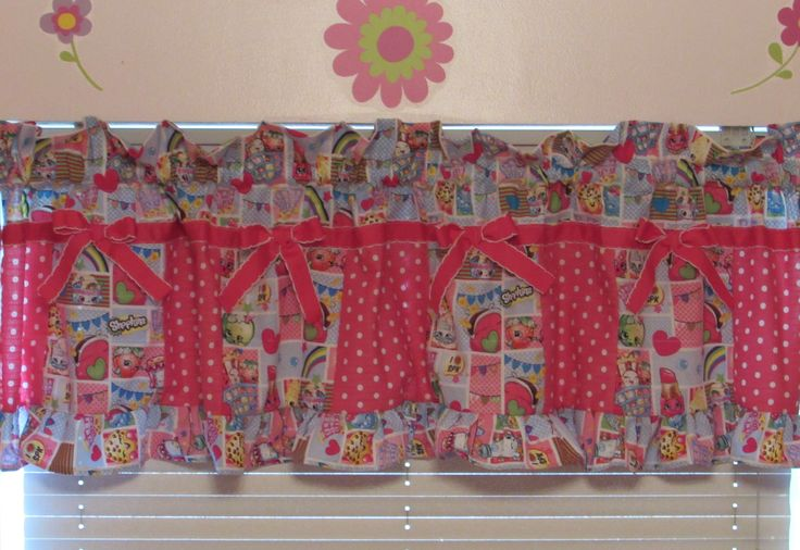 Shopkins valance,Shopkins room decor,kids Shopkins,Shopkins curtains,girls curtains,girls room decor,Fancy Shopkins valance,Shopkins by livenlovecreations on Etsy