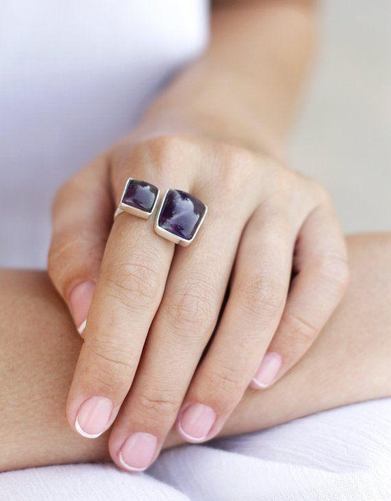 Double Stone Silver Ring Two Amethyst Stones Ring Purple