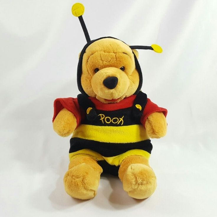 """12"""" Winnie The Pooh Bear in Bumble Bee Outfit Disney Stuffed Animal Plush Toy #Disney"""