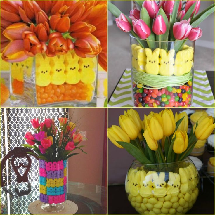Easter Centerpieces with Peeps and Potted Bulbs