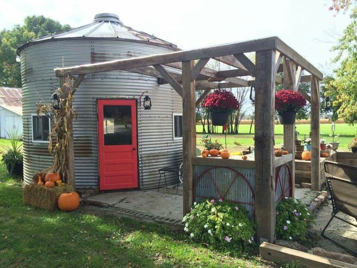 Pinterest Home All: Grain Bin Garden Cottage With Pergola Deck