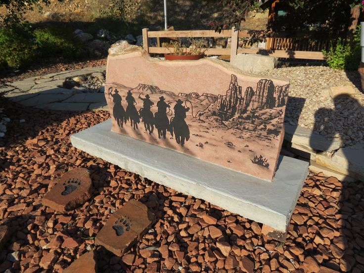Stone Welcome Sign With Cowboys On The Range Sandblasted