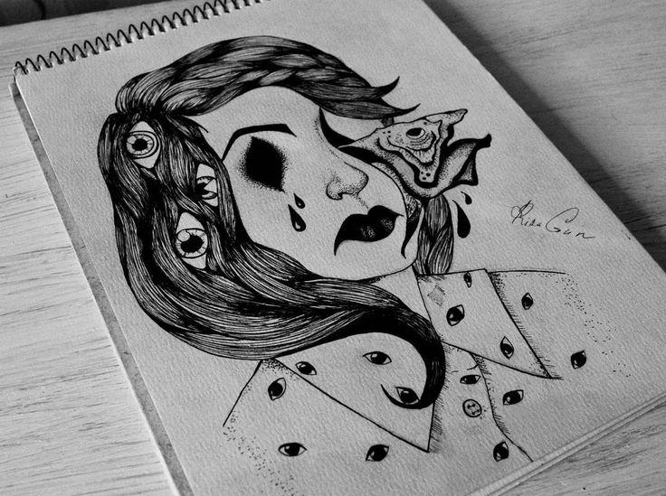 #мое #скетч #иллюстрация #моно #чернобелое #тату #эскизтату #эскиз #девушка #рыба #глаз #волосы #сюрреализм #страх #арт #чернобелое #illustrations #tattoo #sketch #mono #my #blackandwhite  #art #girl #eyes #fish #blackandwhite #scare #surrealism