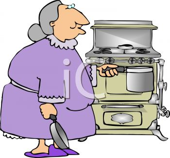Royalty Free Clipart Image of an Old Lady Cooking