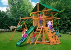 Best Swing Set for a Small Yard and Young Children - The Playnation Passage is one of the best small playsets at this price - its size is 13' x 13.5'. It has all the features of larger sets including a rock wall, ladder, slide, two swings and trapeze bar. It fits nicely into small spaces too!