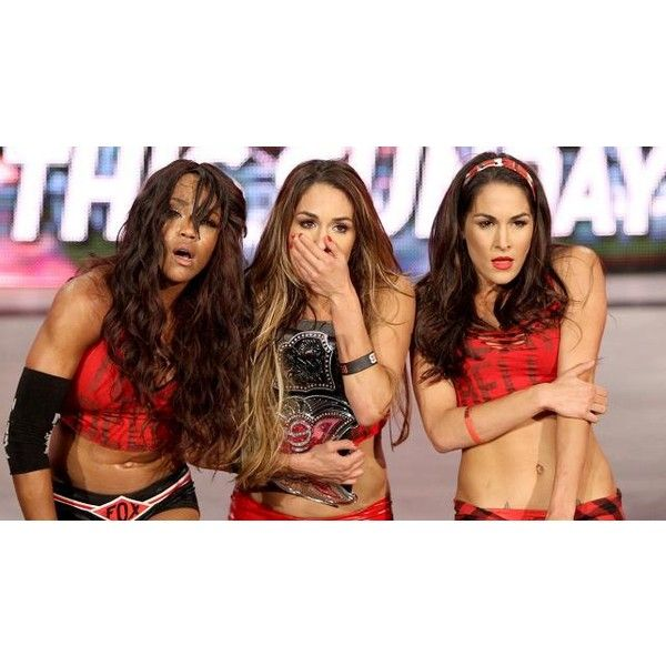 NXT Divas emerge to challenge Team Bella photos ❤ liked on Polyvore featuring the bella twins and wwe