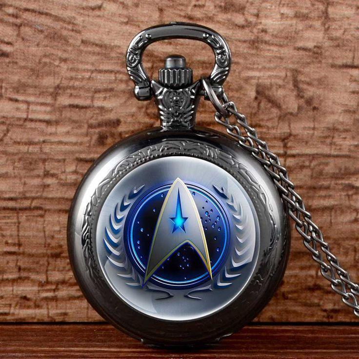 Antique Bronze 13 Style Star Trek Quartz Pocket Watch With Necklace Steampunk Men Women Fob Gift Xmas