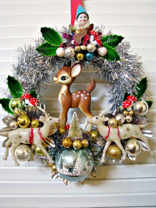 Shiny and Bright Vintage Christmas Wreath with Deer and More. $38.00, via