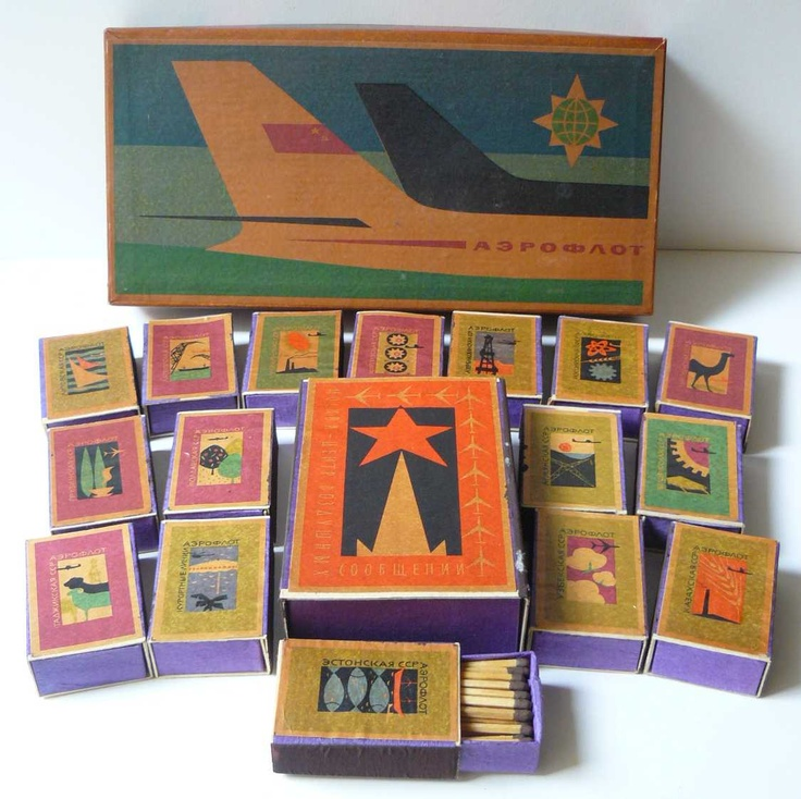 Airline matchboxes, Russia.